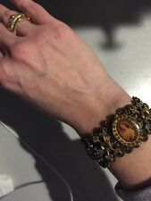 Michal Negrin Crochet Swarovski Crystal Beaded Cameo Bracelet