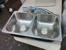"RV Camper 50/50 STAINLESS STEEL DOUBLE KITCHEN SINK 27"" X 16"" X 7"""