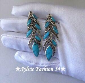 Superbes-longues-Boucles-d-039-oreilles-argent-925-Turquoise-et-Marcassite