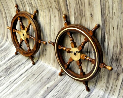 """Details about  /Nautical 24/"""" SHIP WHEEL Decor Steering Boat Brass /& Wooden Replica SET OF 2 PCS"""