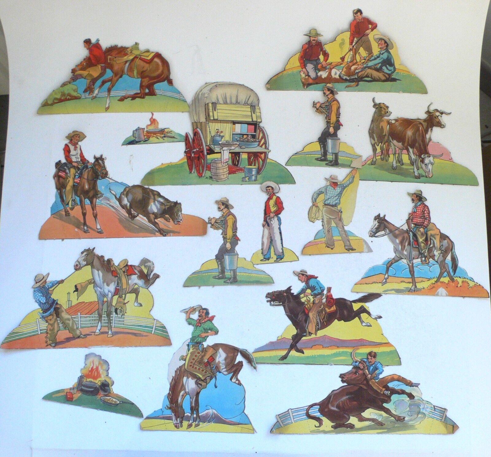 Vintage Paper Toys Toy set of Figures Wild West Western Cowboy Cowboys 1950's