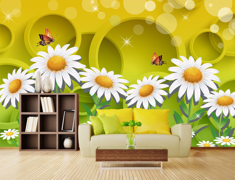 3D Daisy Butterflys 87 Wall Paper Murals Wall Print Wall Wallpaper Mural AU Kyra