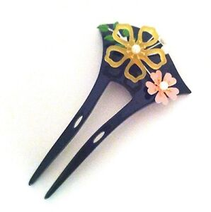 Bridal Acrylic Two-Prang Hair Fork Comb Stick with Painted Sakura Cherry Blossom