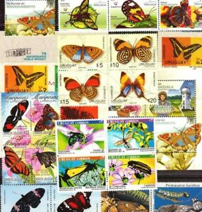 DISCOVER URUGUAY ! SELECTED 21 BUTTERFLY INSECTS STAMPS MNH + 2 S/S