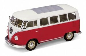 Volkswagen T1 bus rouge/blanc 1962 1/24 Welly
