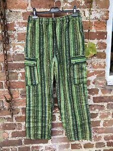 Utilidad De Combate Mens Gringo Festival Boho Hippie De Algodon A Rayas Pantalones M Ebay