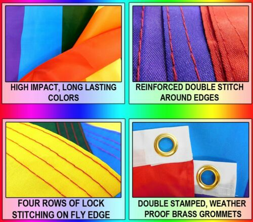 Rainbow Peace Flag 3x5 LGBTQIA  Rainbow Pride Peace Swirl Waterproof Flag