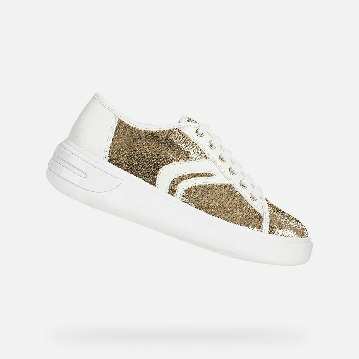GEOX DONNA scarpe da ginnastica BASSA P E OTTAYA D92BYE 0AT54 PAILETTES+GEOBUK oro bianca