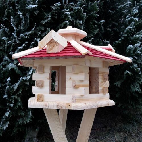 Sehr großes Vogelhaus Vogelhäuser Vogelfutterhaus mit Futterspender lasiert neu