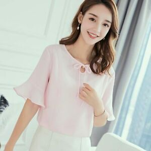 Ladies-Women-Loose-Summer-Chiffon-Top-T-Shirt-Fashion-Blouse-Short-Sleeve-Solid