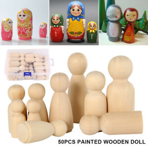 Details About 50pcs Diy Wooden Peg Doll Unfinished Family People Wedding Craft Manladykids