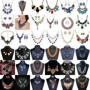 Women-Pendant-Necklace-Crystal-Flower-Choker-Chunky-Statement-Chain-Bib-Fashion