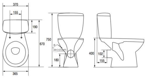 WC Toilette Stand Tiefspüler Set Bodenstehend Spülkasten Keramik Sitz Cersanit M