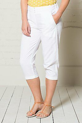 **SALE** NOMADS White Cotton Drawstring Waist Summer Crop Trousers  Fairtrade