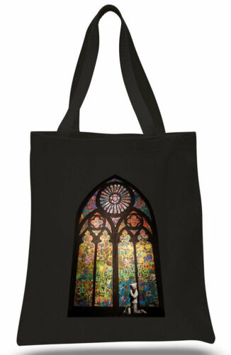 Banksy Stained Glass Window Graffiti Cotton Tote hand ECO canvas shoulder bag