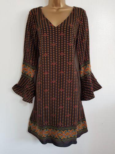 NEW Ex D*benhams 8-20 Black Paisley Printed Border Hem Flute Sleeve Shift Dress