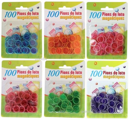 100 pions Magnétiques Loto Bingo jetons aimantés pour bâton magnetic 6 couleurs