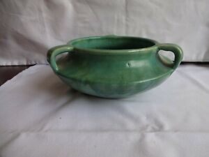 Antique-Upchurch-Pottery-Bowl-Arts-and-Crafts-Posy-Bowl-with-Flower-Frog-c-1914