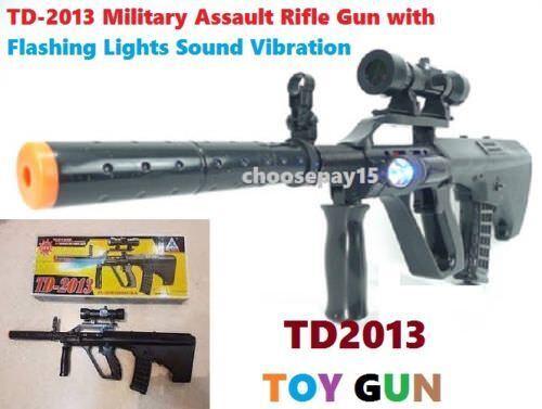 TD-2013 Kids Toy Military Assault Rifle Gun with Flashing Lights Sound Vibration