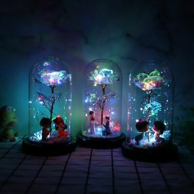 die sch nheit und das biest bell konservierte rose im glas kuppel led geschenk ebay. Black Bedroom Furniture Sets. Home Design Ideas