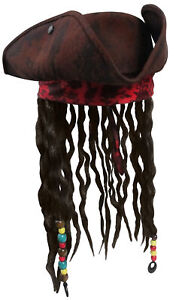Deluxe Buccaneer Caribbean Tri-Corn Pirate Hat with Beads and Hair, Slightly