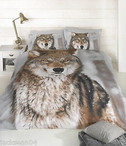 CLASSIC-KING-SIZE-WINTER-WOLF-BROWN-COTTON-BLEND-DUVET-COVER-SET