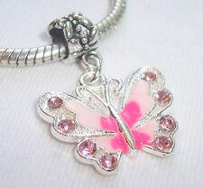 Pink Rhinestone Enamel Butterfly Dangle Bead for Silver European Charm Bracelets