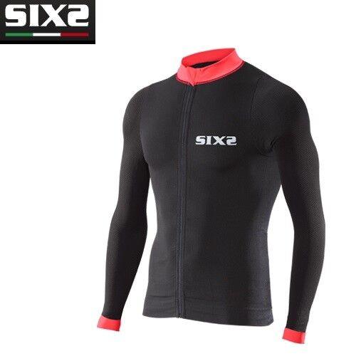 T-Shirt Fahrrad Jersey Langarm Fahrrad Sixs Schwarz Rot Fahrrad4 Streifen