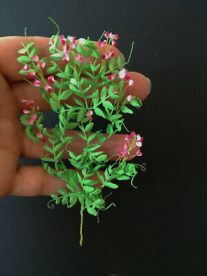 Miniature 1x Pink climbing Sweet Peas plant 1:12 dollshouse flower fairy garden