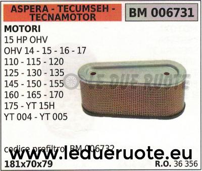 Luftfilter Tecumseh Motor OHV 14 15 16 17 110 115 120 125 130 36356