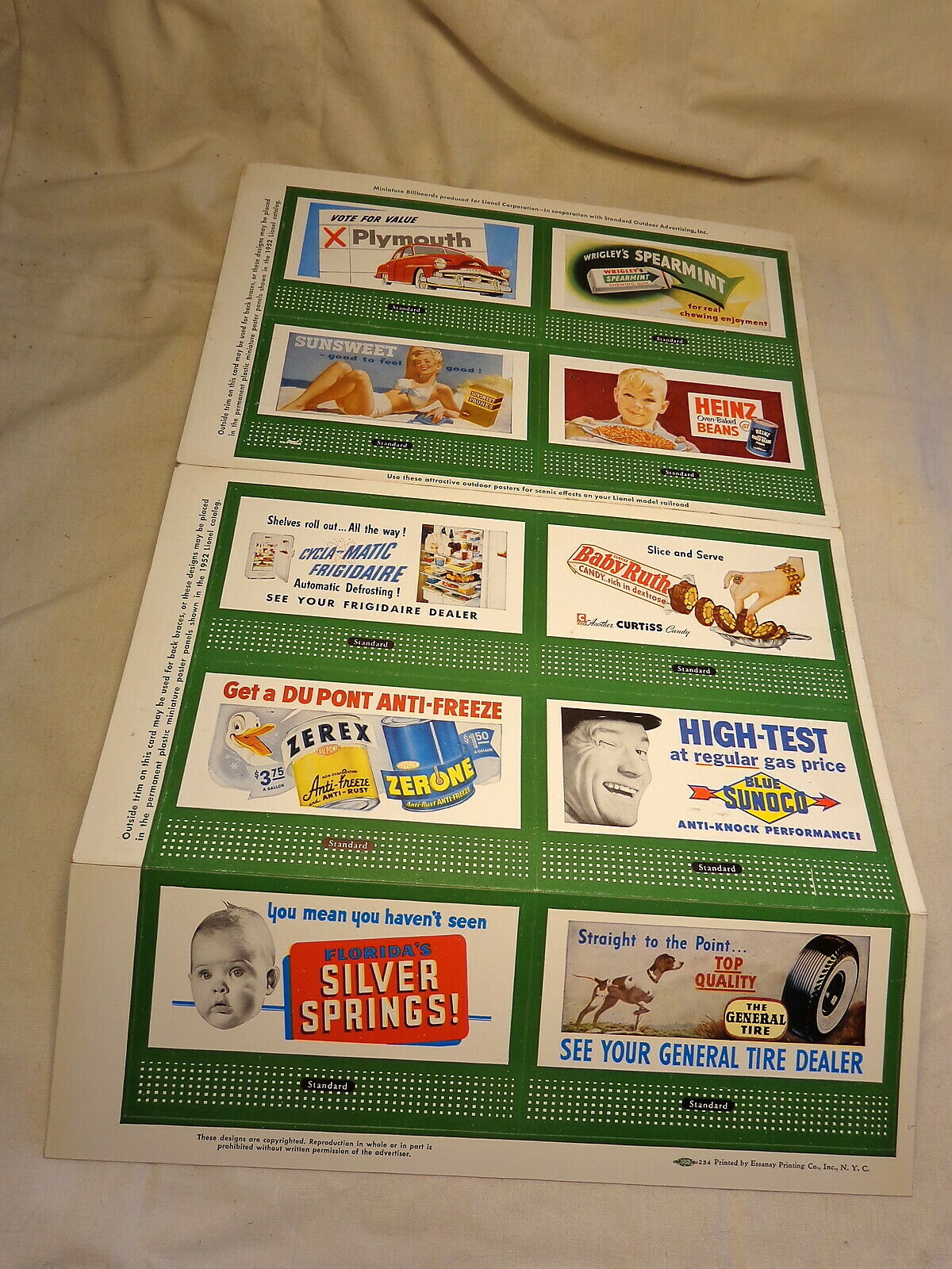 Lionel 1952  310 Billboard 10 Sign Sheet   Orginial O Gauge 50's Lionel