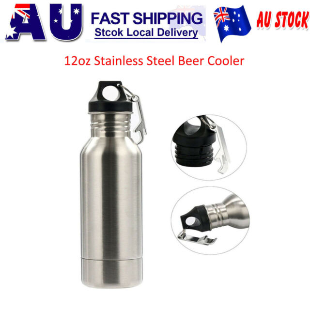 2x Beer Cooler Keeper Insulator Bottle Holder Stainless Steel with Opener Silver