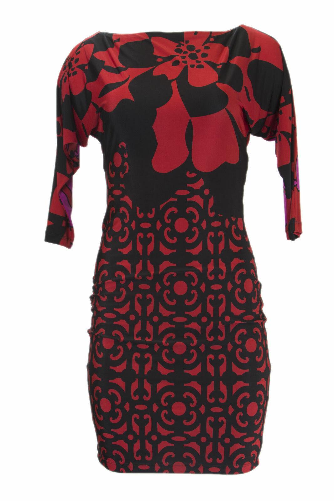 ANALILI Woherren schwarz Arabesque Print Cut Out  Back Dress A1363BD10 M  NEW