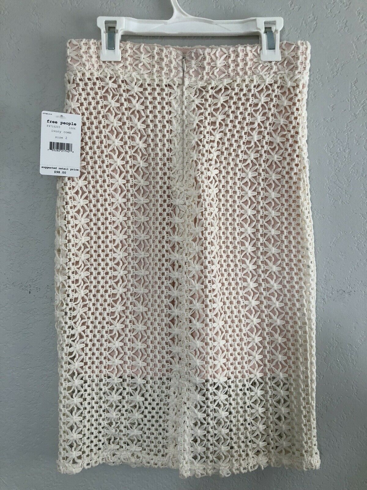 NWT Free People Ivory Comb Skirt Size 2