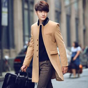 Men S Stand Collar Long Woolen Parka Coat Korean Single Button