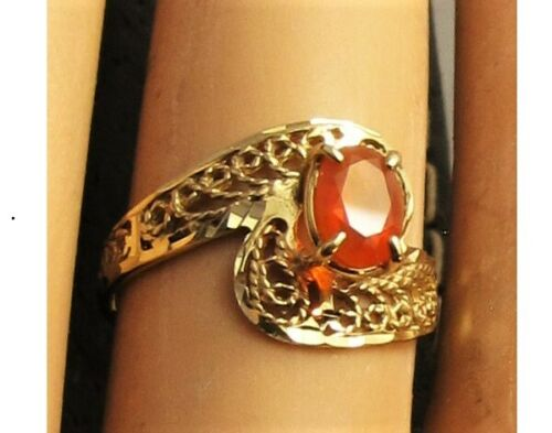 10k yellow gold filigree DJL oval Mexican Fire Opa