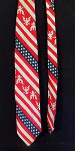 VINTAGE-WIDE-1970-039-S-1980-039-S-USA-FLAG-PRINT-POLY-TIE-57-034-L-X-4-034-W