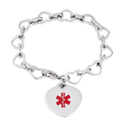 CUSTOM ENGRAVE Glass Beaded Heart Charm Medical Id Bracelet