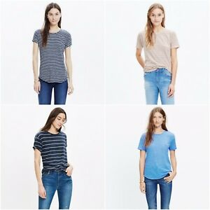 c63142ecb8 Image is loading New-Madewell-Womens-Striped-Whisper-Cotton-Crewneck-Tee-