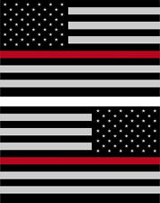 "5"" American Flag 3M REFLECTIVE THIN RED LINE Stickers (x2) Decal USA Firefighter"