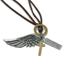 Charm Retro Bronze Angel Wing Cross Pendant Adjustable Leather Necklace Jewelry
