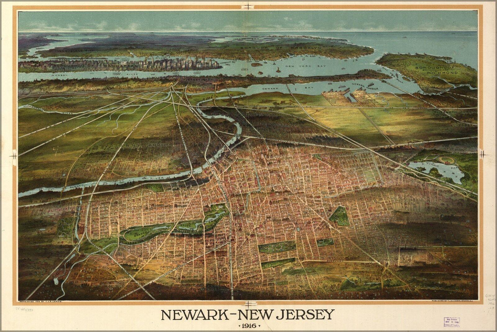 Poster, Molte Misure; Mappa Del Del Del Newark New Jersey 1916 77879b