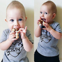 Fashion Toddlers Kids Girl Boy Clothes Cotton Mum Tops T-shirt Summer Costume