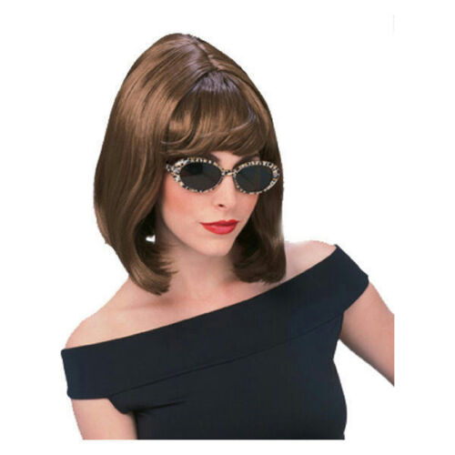 Auburn Brown Shoulder Length Bouffant Style Starlet Fashion Wig with Bangs