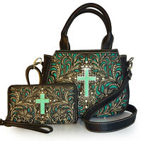 Montana West® Top Handle Embroidered Crossbody Bag W/ Tq Cross + Wallet- Black on sale