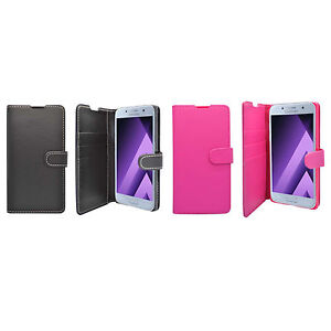 para-Samsung-Galaxy-A3-2017-Liso-Libro-De-Cartera-Abatible-en-varios-color-FUNDA