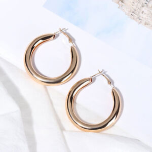 8f39e5f8087ff Details about 50mm Minimalist Punk Rock Thick Tube Big Gold Alloy Round  Circle Hoop Earrings