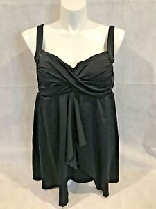 Swimsuits-for-All-PLUS-Swim-Dress-Split-Front-Draped-Control-BLACK-NWT-20W-20
