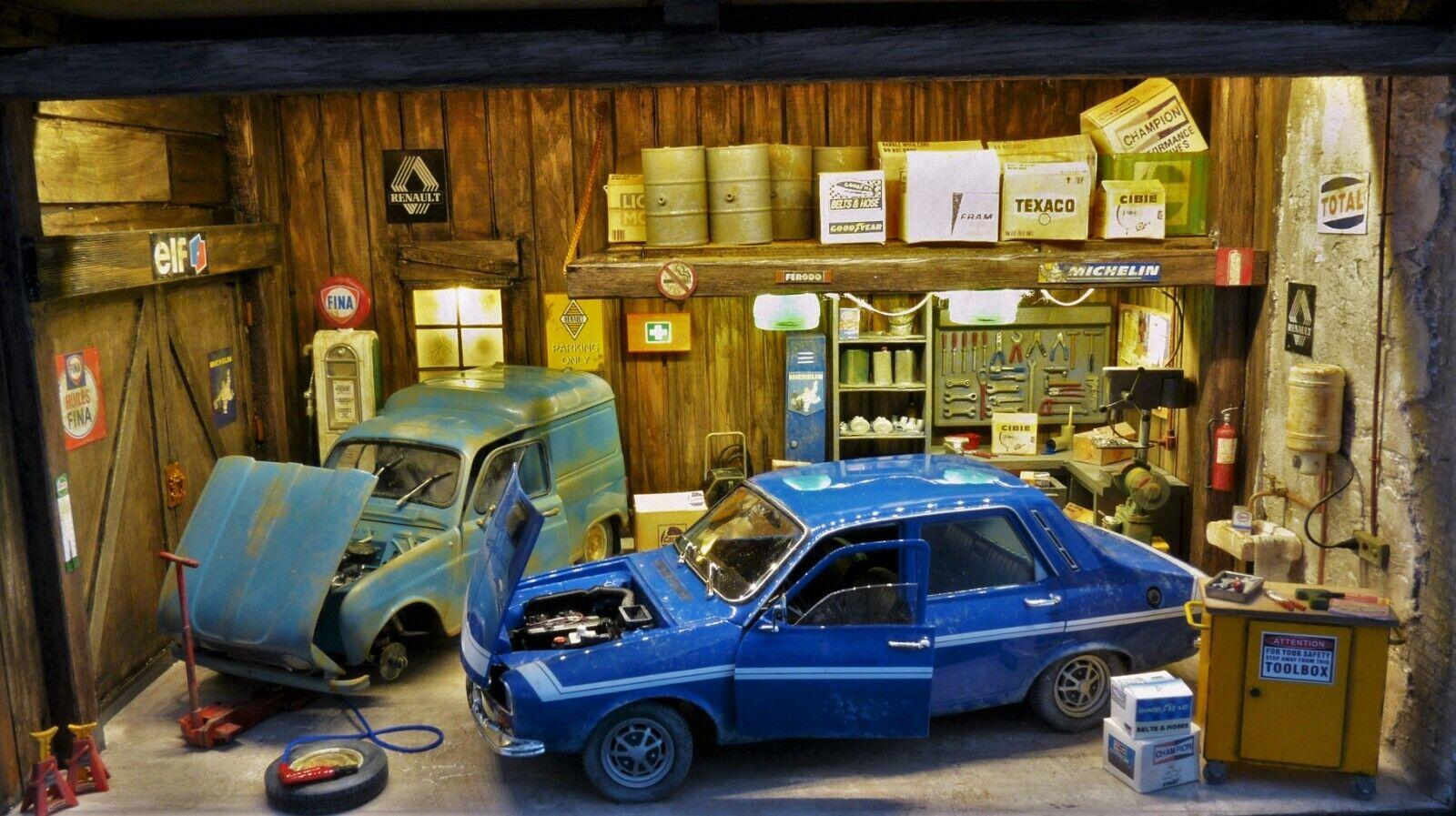 QHC Diorama 1 18 Vintage European lavoronegozio with 2 Renault modellolos