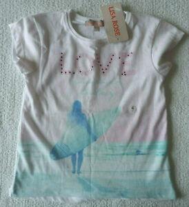 T-shirt blanc motif fille vêtement Débardeur taille 4 ans neuf